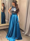 A-line Scoop Neck Floor-length Satin Prom Dresses with Lace #Favs020102065