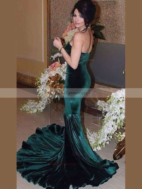 Trumpet/Mermaid Sweetheart Velvet Sweep Train Prom Dresses #Favs020106124