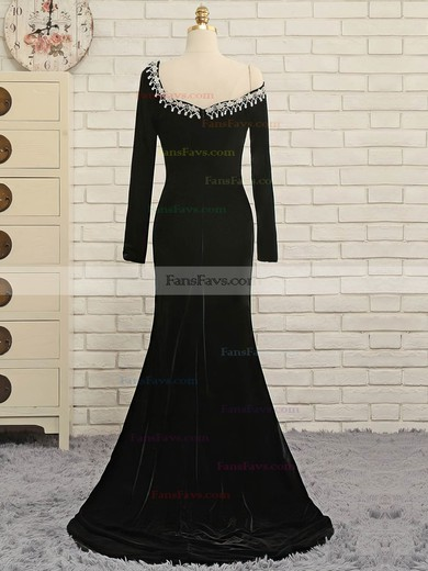 Trumpet/Mermaid Off-the-shoulder Velvet Sweep Train Appliques Lace Prom Dresses #Favs020106127