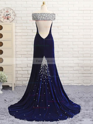 Trumpet/Mermaid Off-the-shoulder Velvet Sweep Train Beading Prom Dresses #Favs020106128