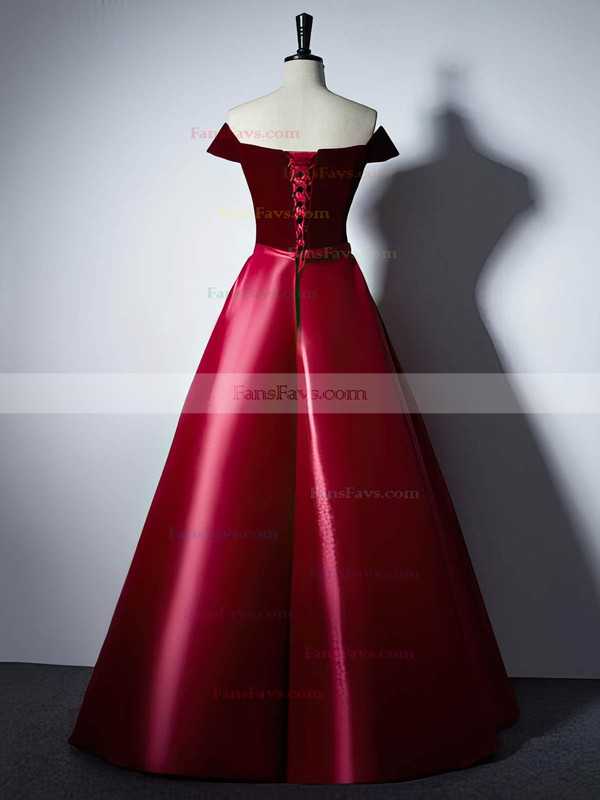 Ball Gown Off-the-shoulder Satin Velvet Floor-length Sashes / Ribbons Prom Dresses #Favs020106129