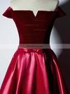 Ball Gown Off-the-shoulder Satin Velvet Floor-length Sashes / Ribbons Prom Dresses #Favs020106129