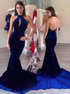 Trumpet/Mermaid Halter Velvet Sweep Train Prom Dresses #Favs020106133