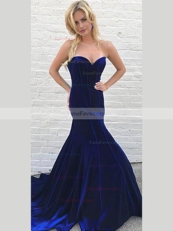Trumpet/Mermaid High Neck Tulle Velvet Sweep Train Beading Prom Dresses #Favs020106134