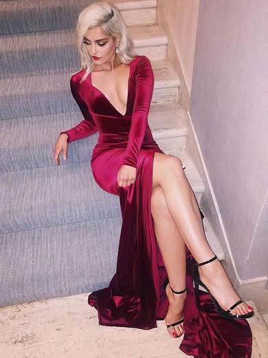 Sheath/Column V-neck Velvet Sweep Train Split Front Prom Dresses #Favs020106136