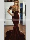 Trumpet/Mermaid V-neck Velvet Sweep Train Appliques Lace Prom Dresses #Favs020106137