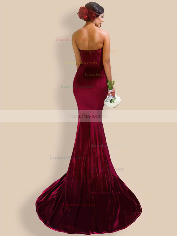 Trumpet/Mermaid V-neck Velvet Sweep Train Prom Dresses #Favs020106138