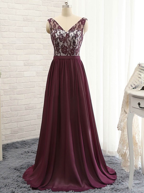 A-line V-neck Sweep Train Chiffon Prom Dresses with Ruffle Lace #Favs020102133