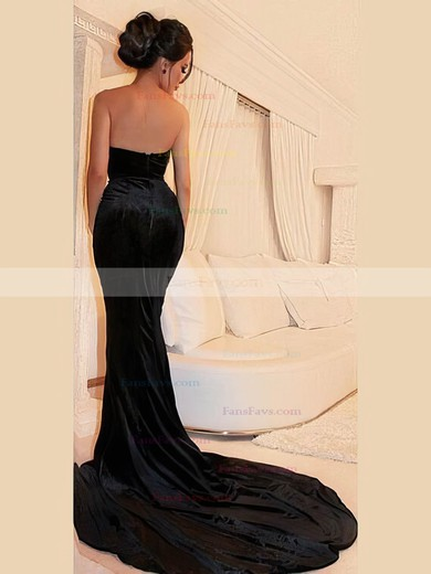 Trumpet/Mermaid V-neck Velvet Sweep Train Prom Dresses #Favs020106143