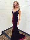 Trumpet/Mermaid V-neck Velvet Sweep Train Beading Prom Dresses #Favs020106144