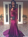 Trumpet/Mermaid Scoop Neck Velvet Sweep Train Beading Prom Dresses #Favs020106146