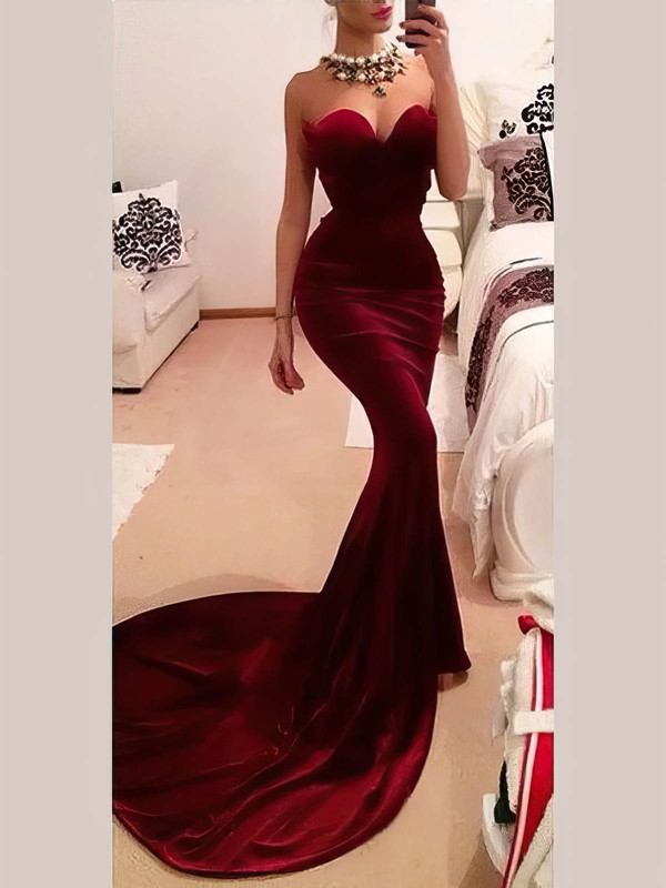 Trumpet/Mermaid Sweetheart Velvet Sweep Train Prom Dresses #Favs020106149