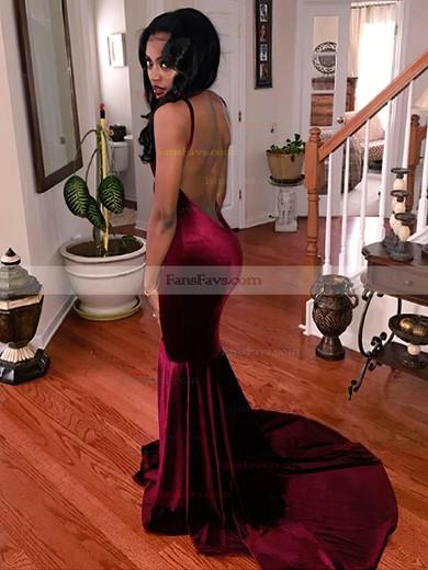 Trumpet/Mermaid V-neck Velvet Sweep Train Prom Dresses #Favs020106152