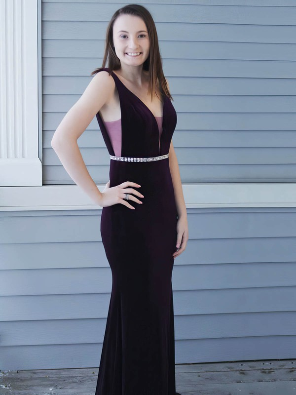 Sheath/Column V-neck Velvet Floor-length Beading Prom Dresses #Favs020106155