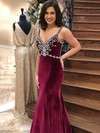 Trumpet/Mermaid V-neck Velvet Sweep Train Beading Prom Dresses #Favs020106156
