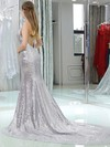 Trumpet/Mermaid Halter Sequined Sweep Train Prom Dresses #Favs020106160