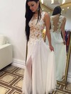 Sheath/Column Scoop Neck Chiffon Floor-length Appliques Lace Prom Dresses #Favs020102166