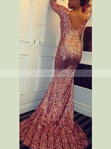 Trumpet/Mermaid V-neck Sequined Sweep Train Prom Dresses #Favs020106162