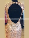 Sheath/Column Scoop Neck Sequined Floor-length Split Front Prom Dresses #Favs020106163