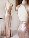 Sheath/Column V-neck Sequined Floor-length Split Front Prom Dresses #Favs020106164