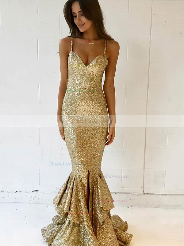 Trumpet/Mermaid V-neck Sequined Floor-length Split Front Prom Dresses #Favs020106165