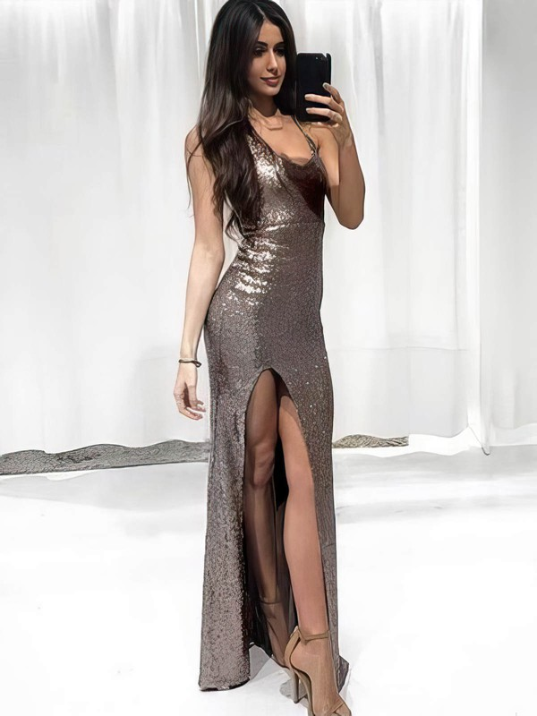 Sheath/Column V-neck Sequined Floor-length Split Front Prom Dresses #Favs020106167