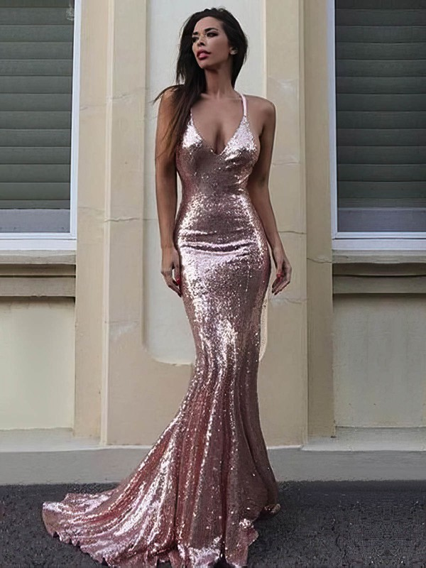 Trumpet/Mermaid V-neck Sequined Sweep Train Prom Dresses #Favs020106169