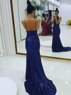 Trumpet/Mermaid Scoop Neck Sequined Sweep Train Prom Dresses #Favs020106172