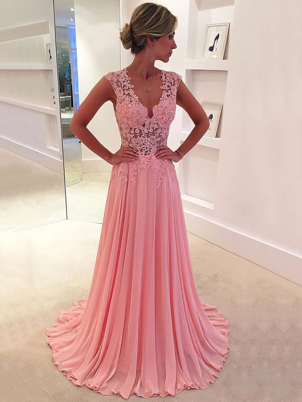 cf2128d7d86 A-line V-neck Sweep Train Chiffon Prom Dresses with Appliques Lace   Favs020102171