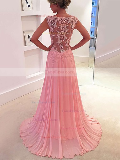 A-line V-neck Sweep Train Chiffon Prom Dresses with Appliques Lace #Favs020102171