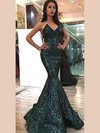 Trumpet/Mermaid V-neck Sequined Floor-length Prom Dresses #Favs020106175