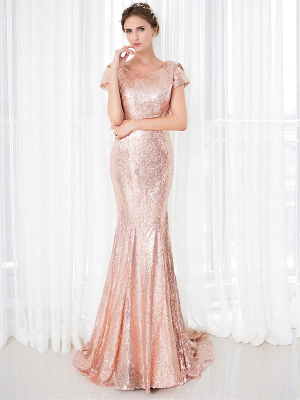 Trumpet/Mermaid Scoop Neck Sequined Sweep Train Prom Dresses #Favs020106177