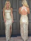Sheath/Column V-neck Sequined Ankle-length Split Front Prom Dresses #Favs020106179