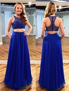 A-line Scoop Neck Chiffon Floor-length Beading Prom Dresses #Favs020102173