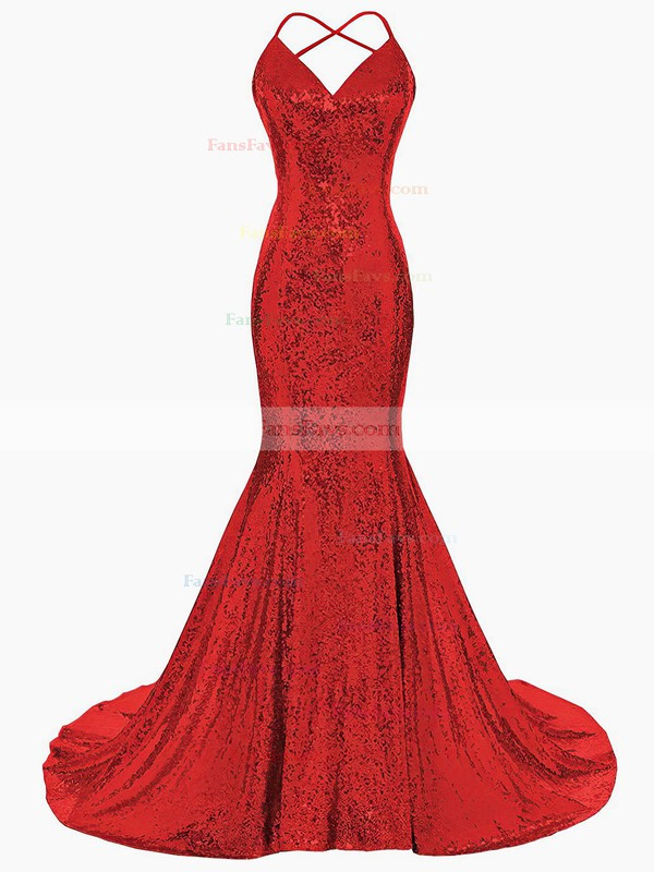 Trumpet/Mermaid V-neck Sequined Sweep Train Prom Dresses #Favs020106183