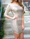 Sheath/Column Scoop Neck Sequined Short/Mini Prom Dresses #Favs020106188