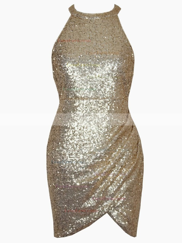 Sheath/Column Halter Sequined Short/Mini Prom Dresses #Favs020106190