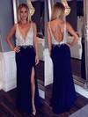 Sheath/Column V-neck Velvet Sweep Train Beading Prom Dresses #Favs020102177