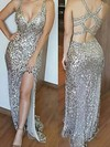 Sheath/Column V-neck Sequined Floor-length Split Front Prom Dresses #Favs020106193