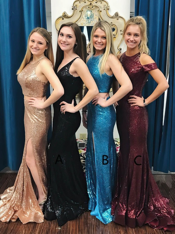 Trumpet/Mermaid Scoop Neck Sequined Sweep Train Split Front Prom Dresses #Favs020106198