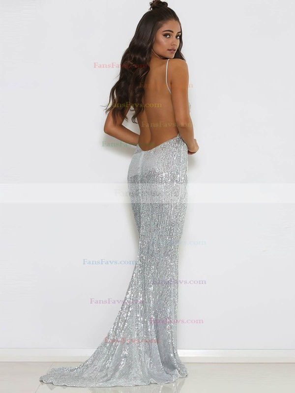 Trumpet/Mermaid V-neck Sequined Sweep Train Prom Dresses #Favs020106202