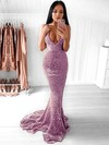 Trumpet/Mermaid V-neck Sequined Sweep Train Prom Dresses #Favs020106203