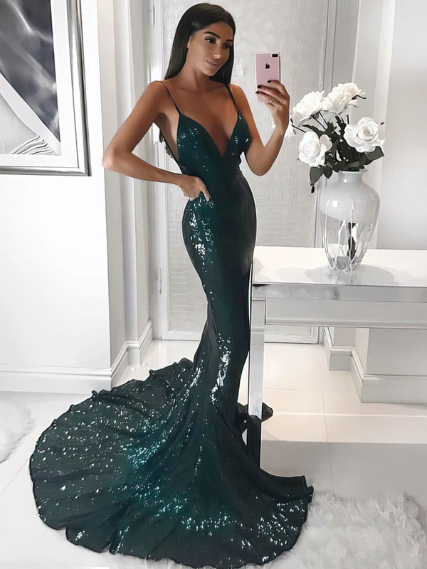 Trumpet/Mermaid V-neck Sequined Sweep Train Prom Dresses #Favs020106206
