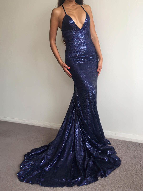 Trumpet/Mermaid V-neck Sequined Sweep Train Prom Dresses #Favs020106208