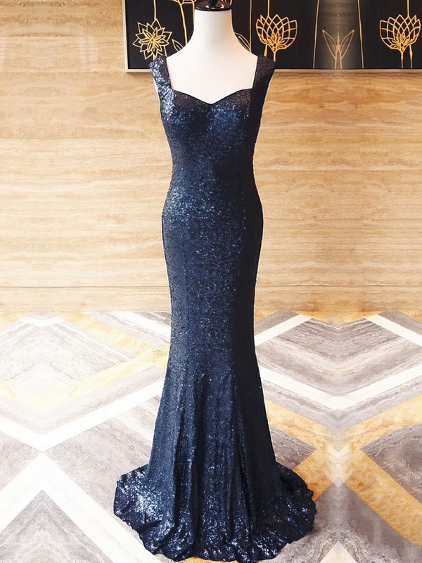 Trumpet/Mermaid V-neck Sequined Sweep Train Prom Dresses #Favs020106212