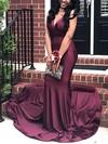 Trumpet/Mermaid V-neck Jersey Sweep Train Prom Dresses #Favs020106217