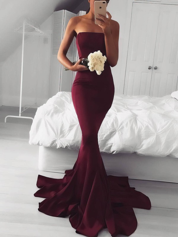 Trumpet/Mermaid Strapless Jersey Sweep Train Prom Dresses #Favs020106219