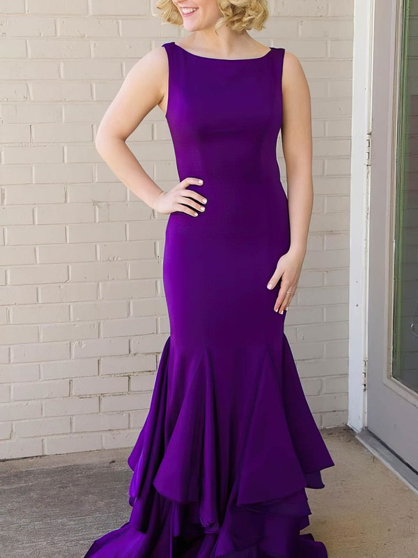 Trumpet/Mermaid Scoop Neck Jersey Floor-length Cascading Ruffles Prom Dresses #Favs020106220