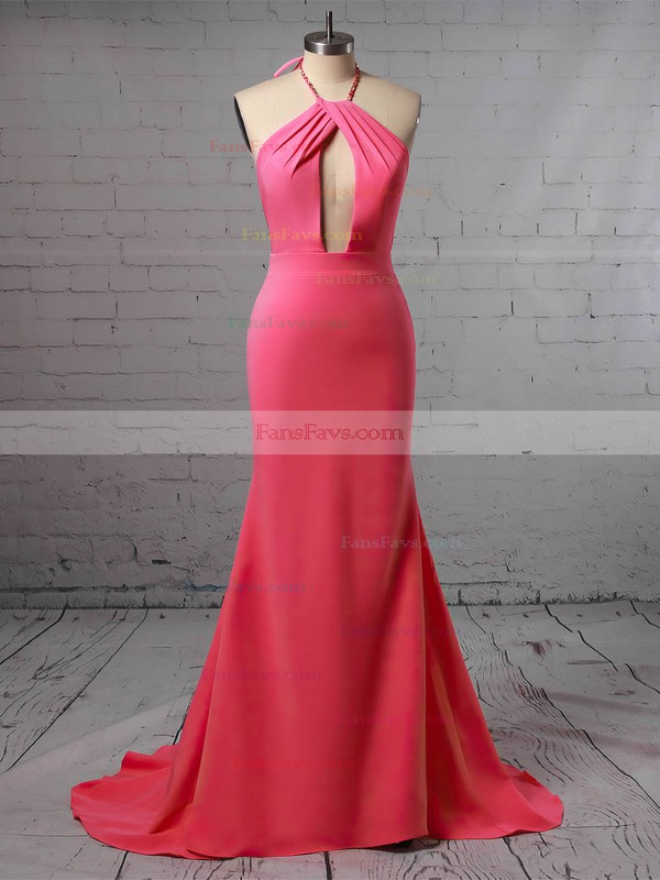 Trumpet/Mermaid Halter Jersey Floor-length Prom Dresses #Favs020106221