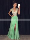 A-line V-neck Chiffon Sweep Train Split Front Prom Dresses #Favs020102202